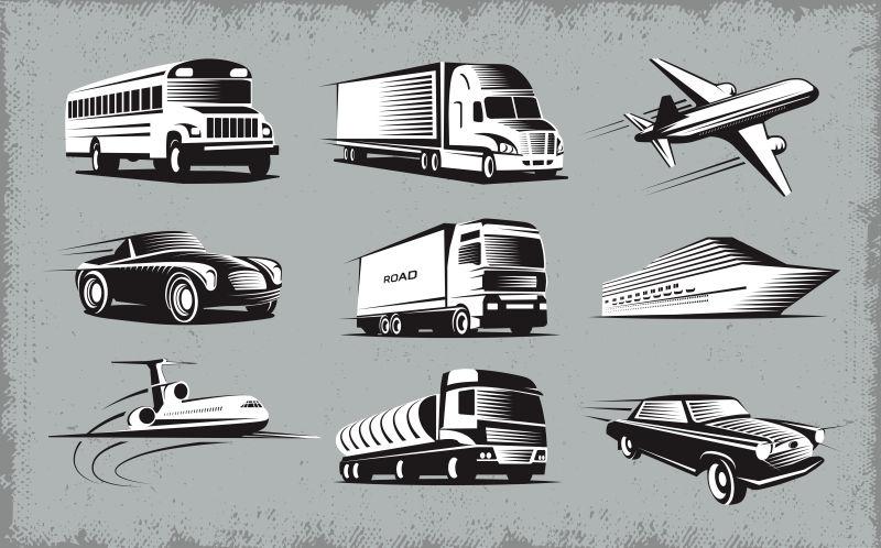 矢量抽象交通运输车辆的插图