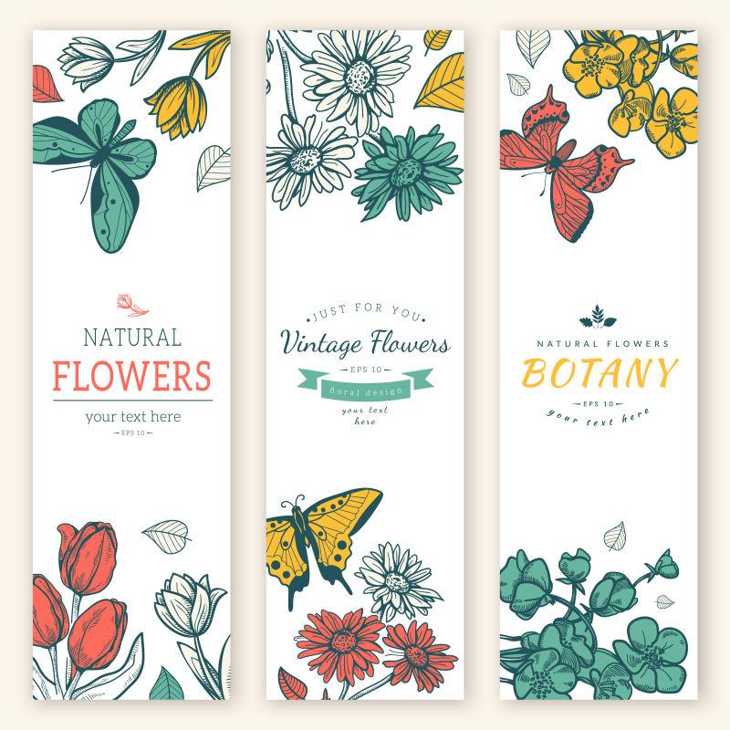 花卉图案的创意横幅矢量设计