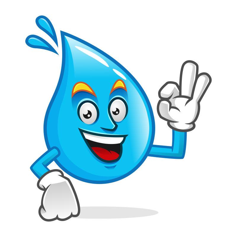 矢量开心的蓝色水滴