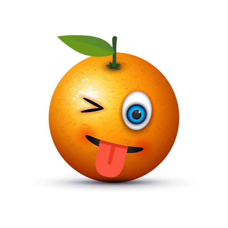 創意矢量現代做鬼臉的橘子卡通圖標設計
