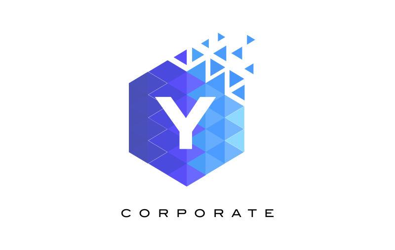 字母logo图片-素材高清字母Y标志蓝色-机械图自动化矢量v字母怎么学图片