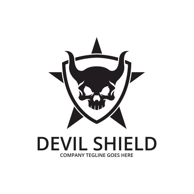 骷髅图案的盾牌标志矢量设计