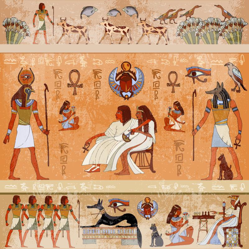古埃及情景神话。埃及神灵与法老