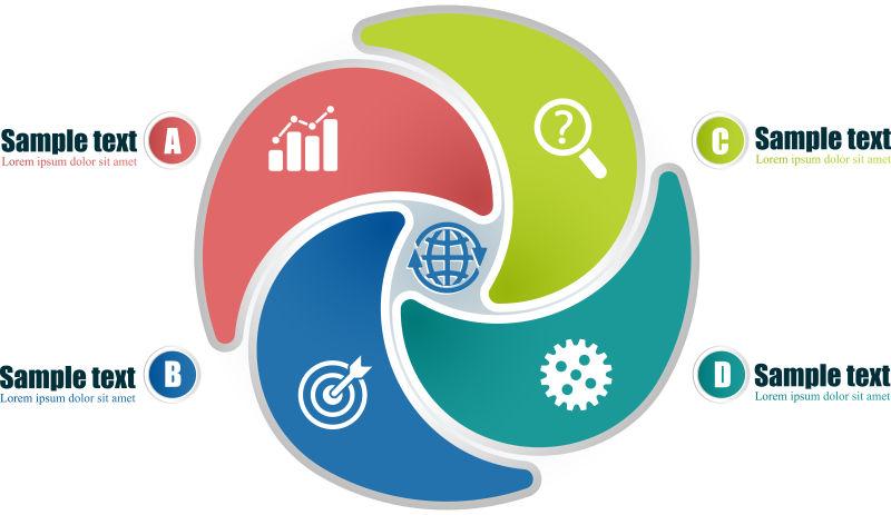 抽象矢量四色循环圆形信息图表设计