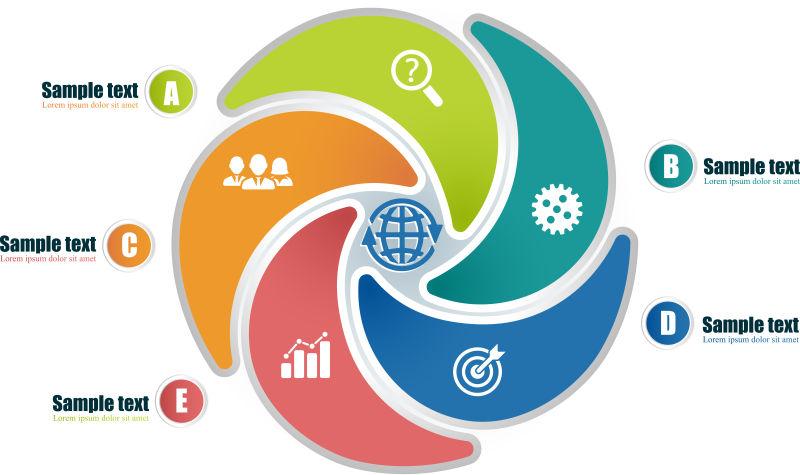 创意矢量现代五色圆形循环信息图表设计