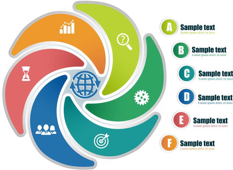 创意矢量现代六色循环信息图表设计