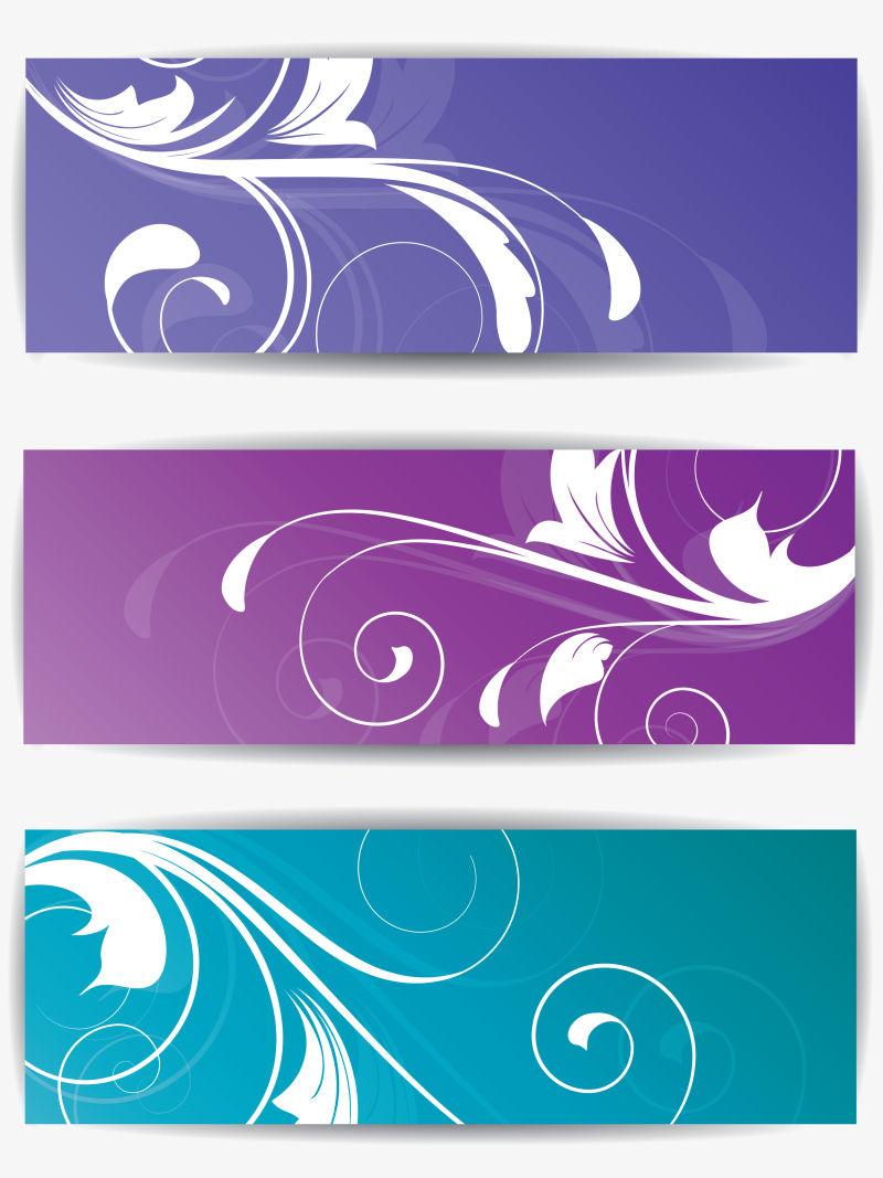 创意矢量抽象花卉元素的横幅设计