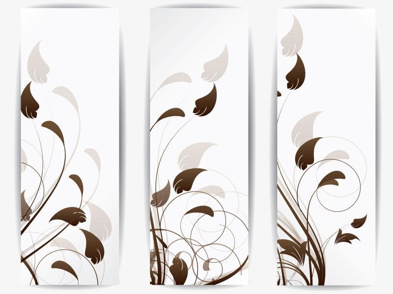 创意矢量现代枝叶元素的平面竖横幅设计