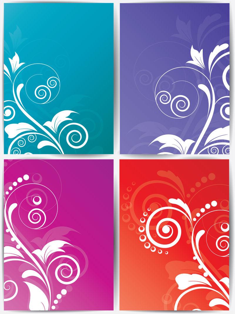 创意矢量现代彩色花卉元素装饰横幅设计