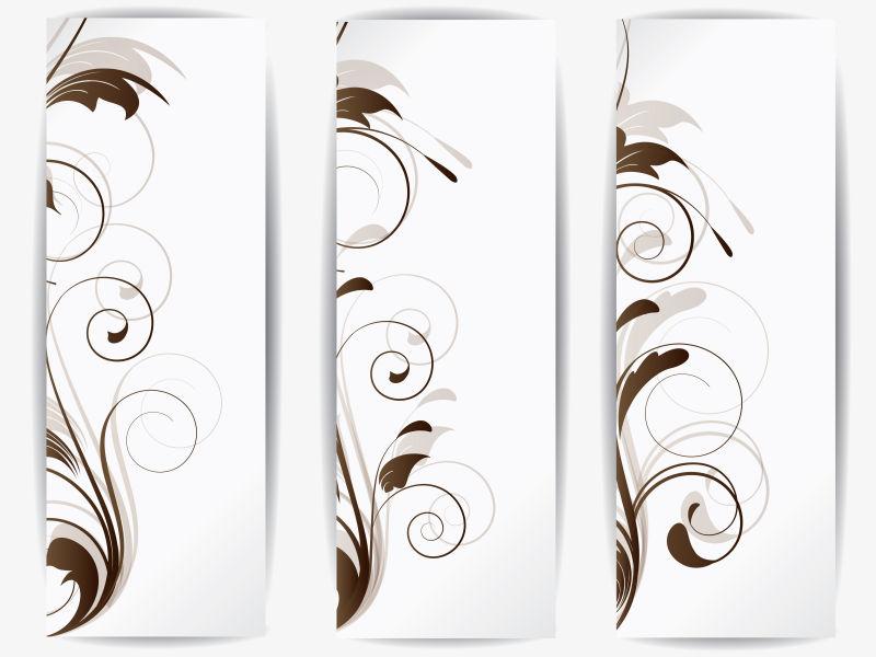 创意矢量抽象花纹装饰的竖横幅设计