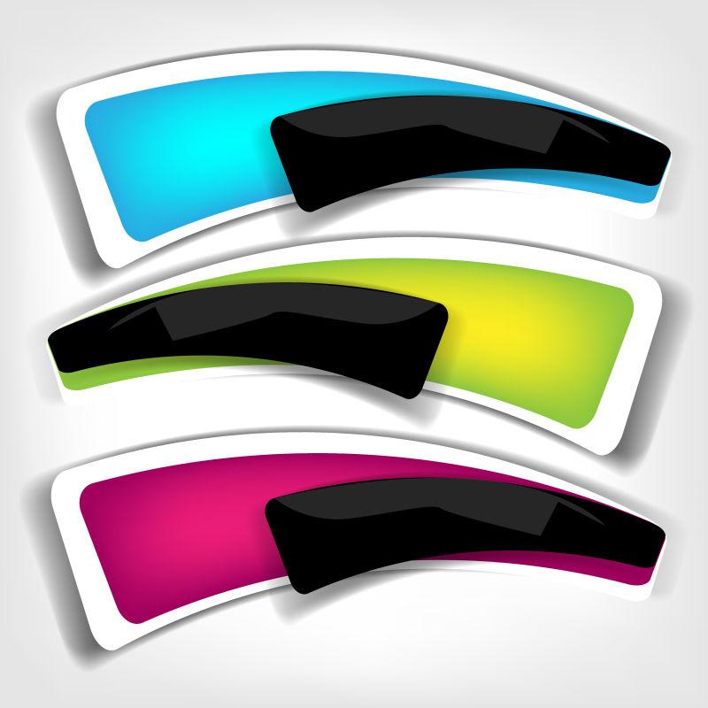 抽象矢量现代彩色空白标签边框设计