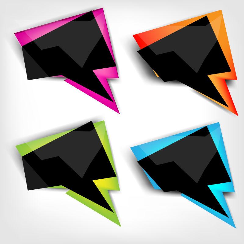 抽象矢量彩色语音对话框标签设计