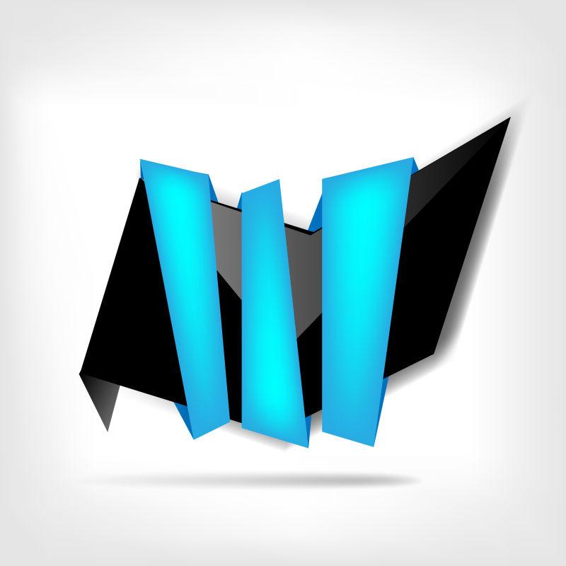 创意矢量蓝色折纸元素的空白标签设计