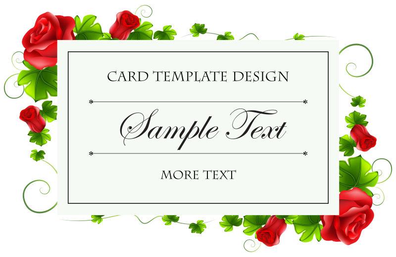 创意矢量现代美丽红花元素的卡片设计