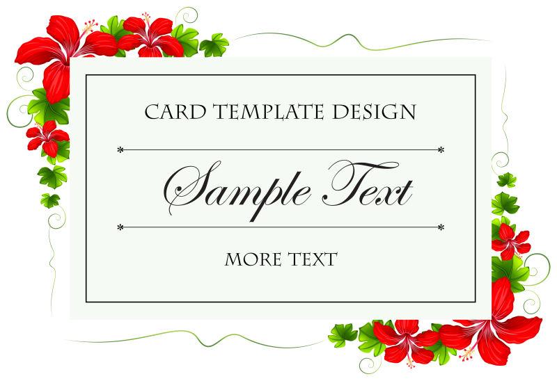 创意矢量美丽红花元素的卡片设计