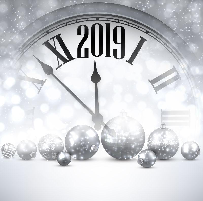 矢量银色的2019新年设计
