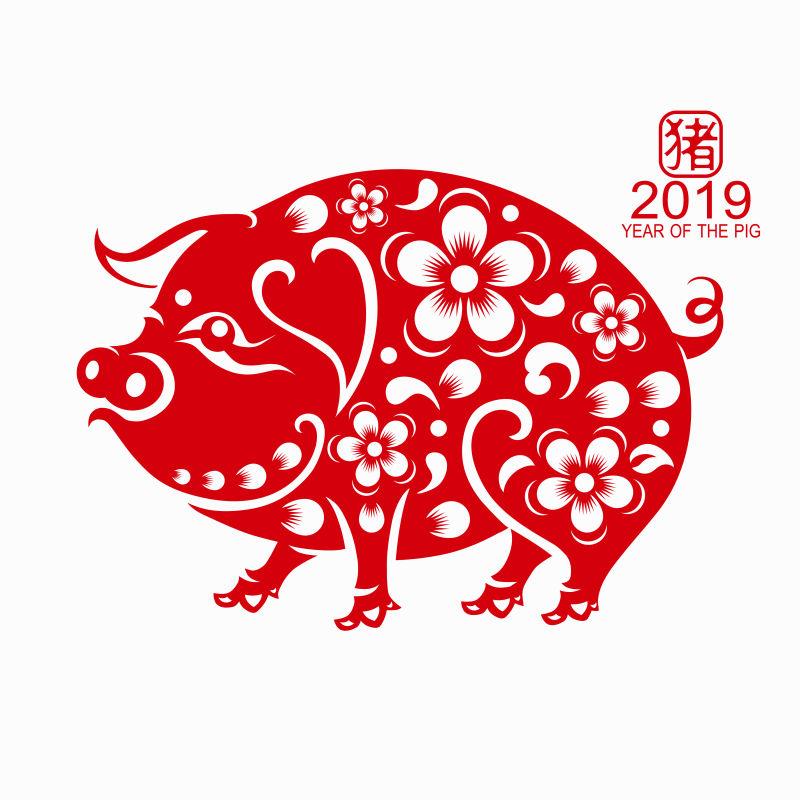 矢量2019猪年剪纸设计