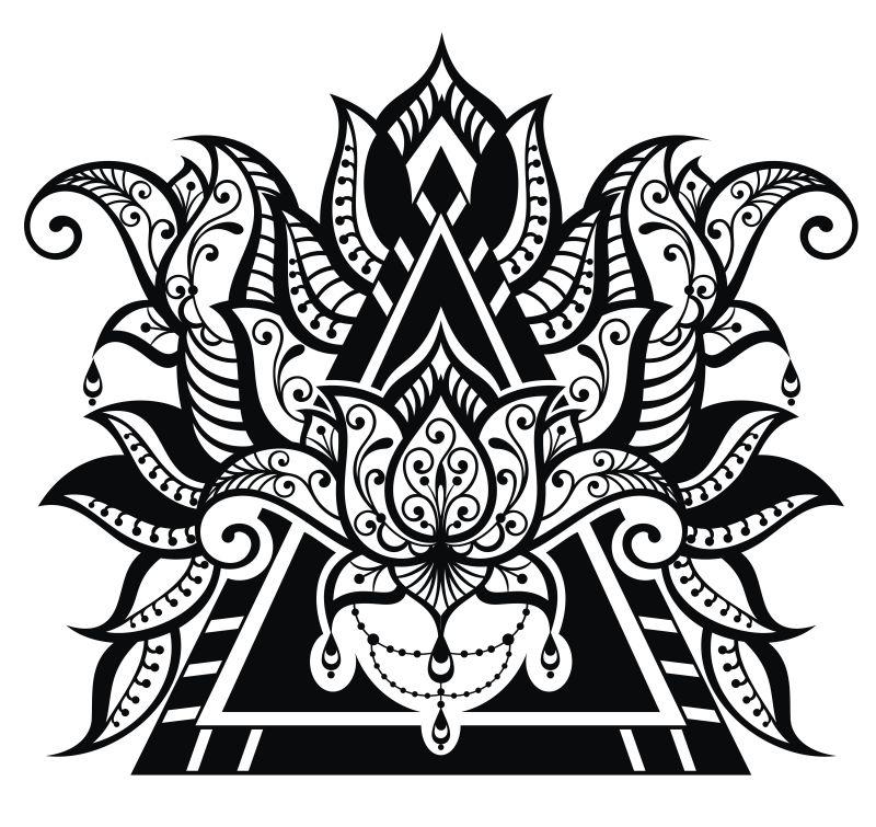 图片模板花卉插图-创意图案现代平面纹身矢量纹身设计师psd矢量图片