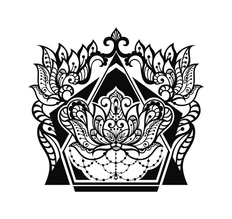 纹身矢量图片图案-创意元素现代矢量花卉的纹洗车卡设计素材图片