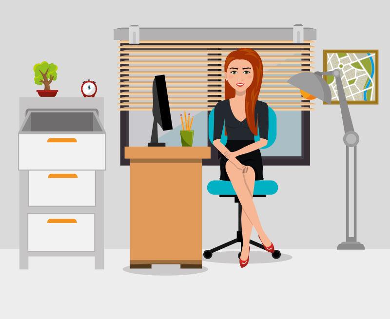 矢量创意现代办公商人平面插图设计