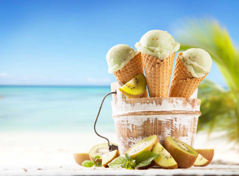 海滩上的冰淇淋