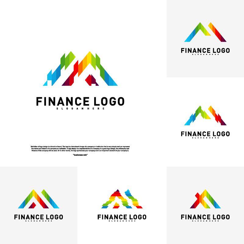 商业金融标识概念向量集-财务标识模板