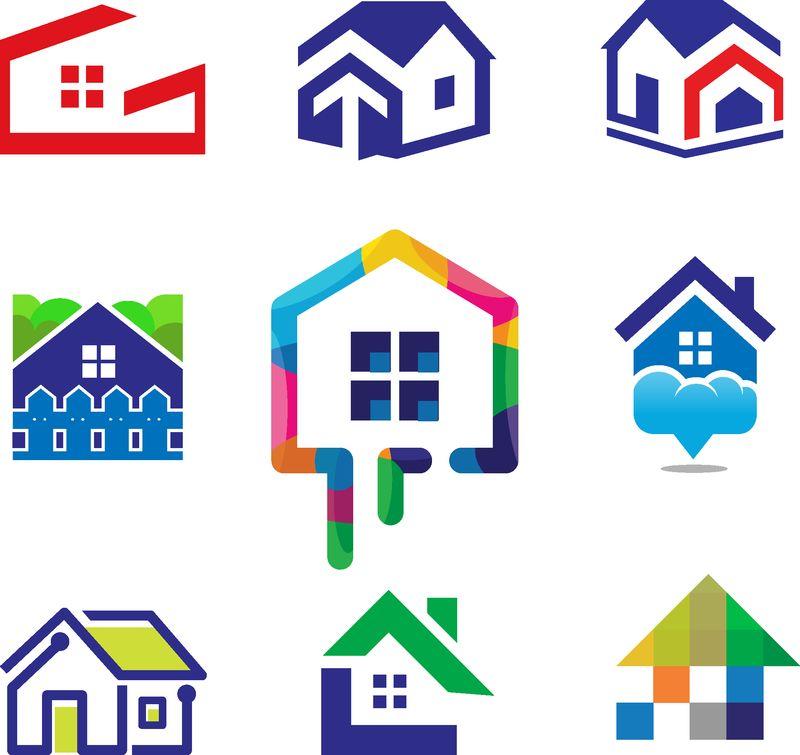 色彩丰富的家居概念-用于家居装饰、建筑、房屋施工及染色