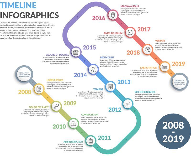 带有图标的时间线、12个元素、Web信息图模板、业务、演示文稿、Vector EPS10插图
