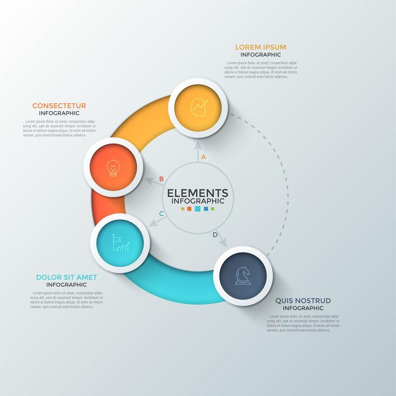 四个彩色圆形元素-内部有线性符号-放置在圆形和文本框中-Web界面的圆形滑块的概念-信息图表设计模板-网站矢量图