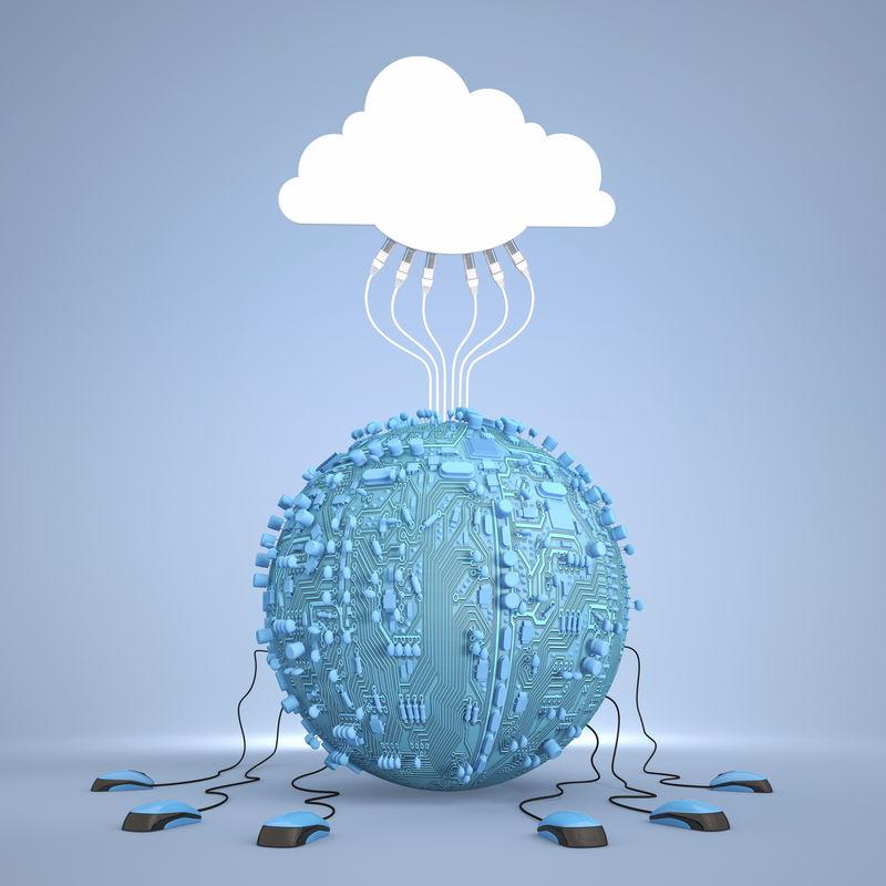 云计算行星和以太网电缆
