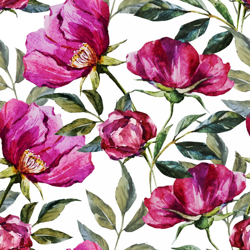 水彩花卉图案