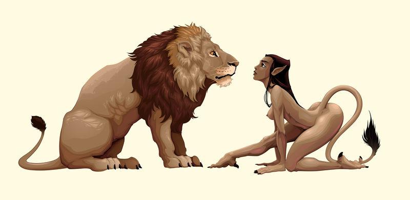 狮子和神话中的女性角色互相注视