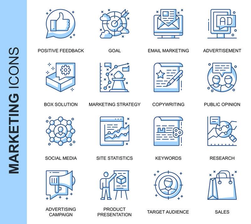 为网站、移动网站和应用程序设置的与相关的细线条矢量图标。轮廓图标设计。包含电子邮件、社交媒体、解决方案等图标。线性象形图包。