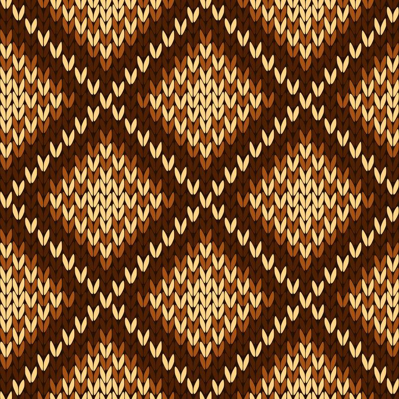 编织各种棕色色调的无缝装饰图案