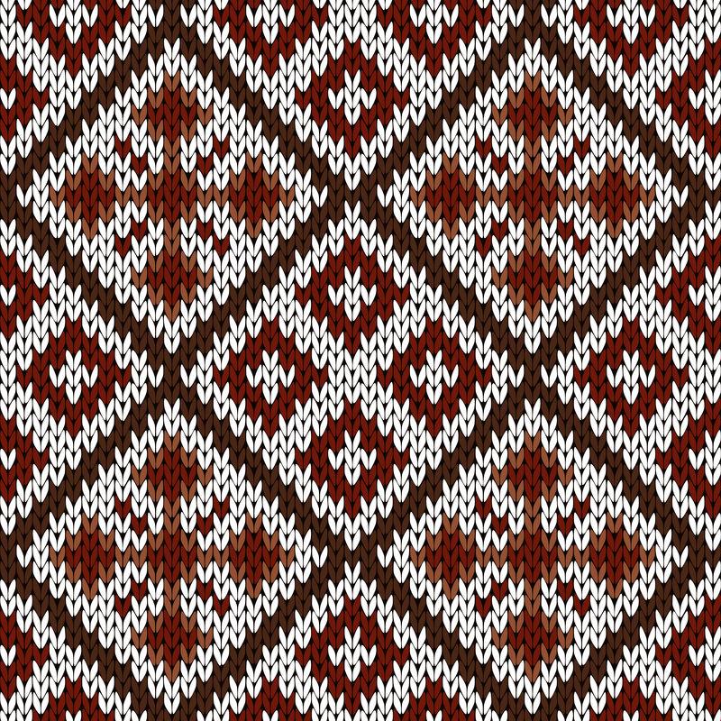 白色、红色和棕色针织华丽无缝图案