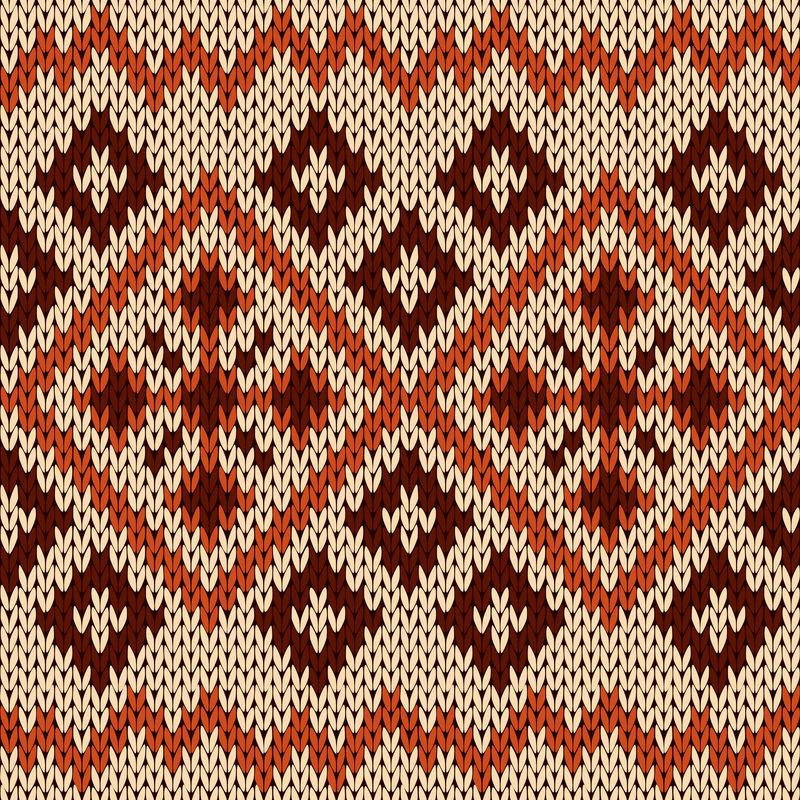 橙色、米色和棕色针织无缝图案