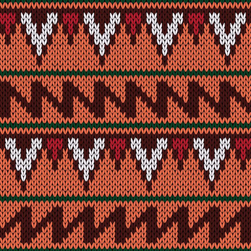 用几何色无花果编织华丽的无缝民族图案
