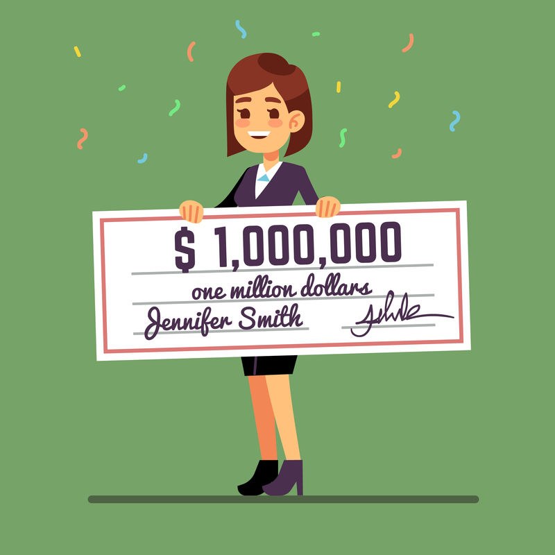 微笑的年轻女子拿着一百万美元的奖金支票矢量