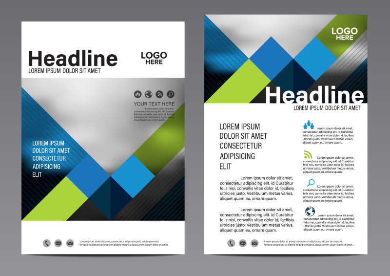抽象蓝色格子的矢量创意册子排版设计模板