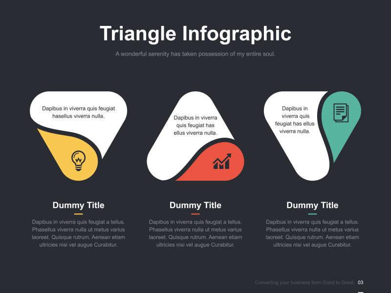 矢量创意圆角三角形图形的幻灯片演示模板