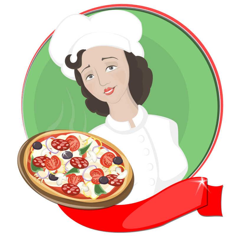 比萨饼图片素材_木制背景下自制鸡肉和蒜酱比萨饼_jpg