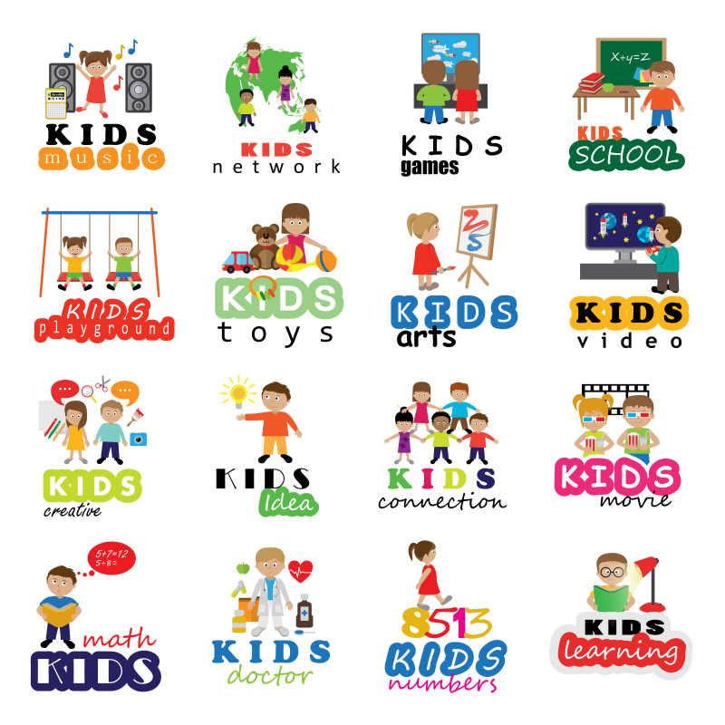儿童活动创意图标设计矢量插图