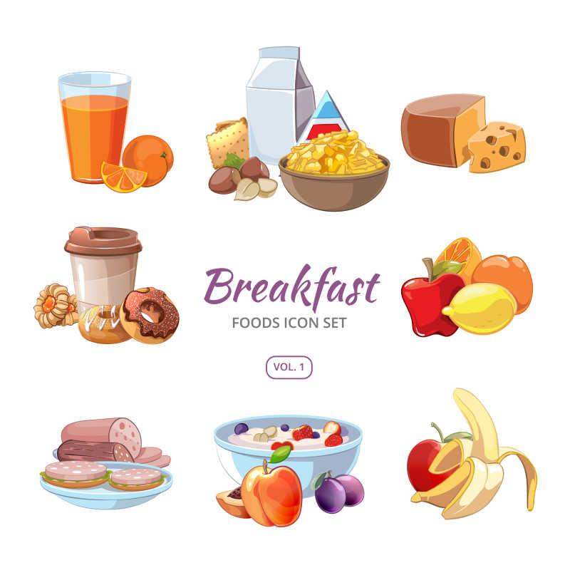白色背景上的卡通风格早餐图标