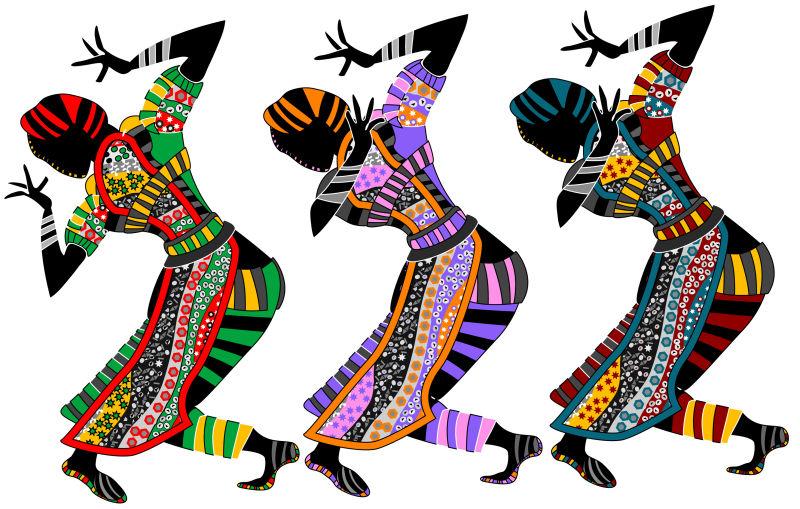 宗教民族舞蹈矢量插图