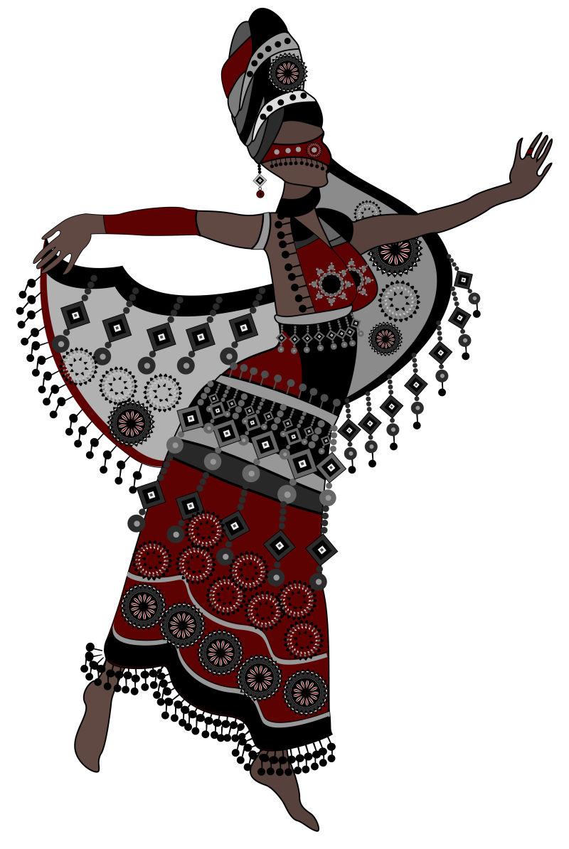 跳舞的非洲女子矢量插图
