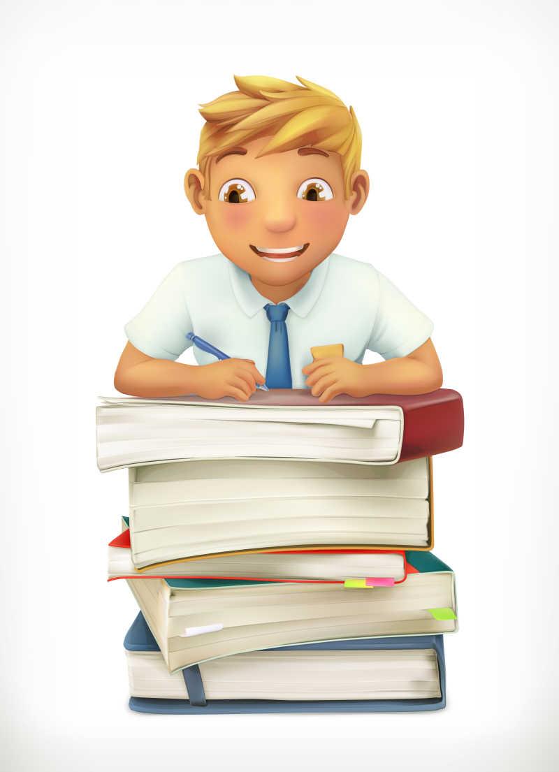 小男孩和学校课本矢量图标