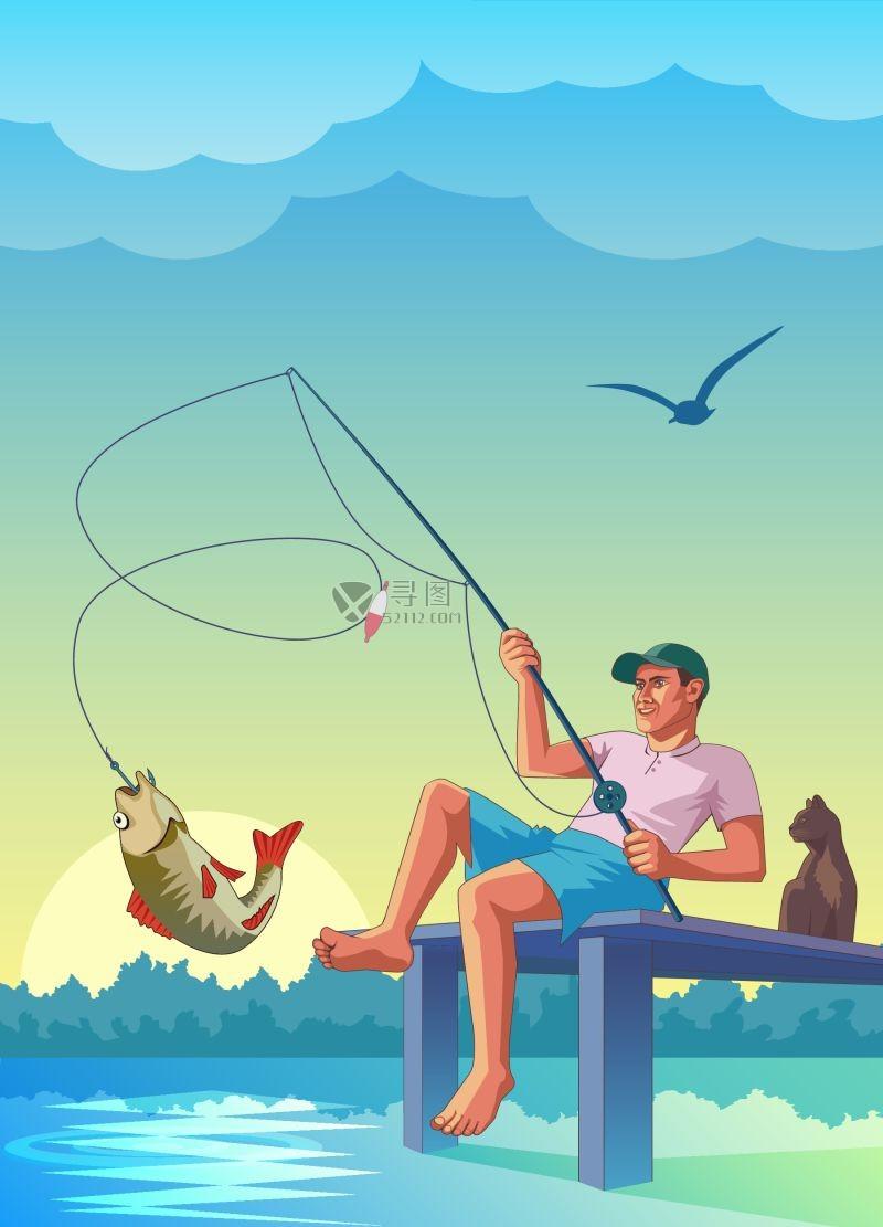 户外钓鱼的人矢量剪影