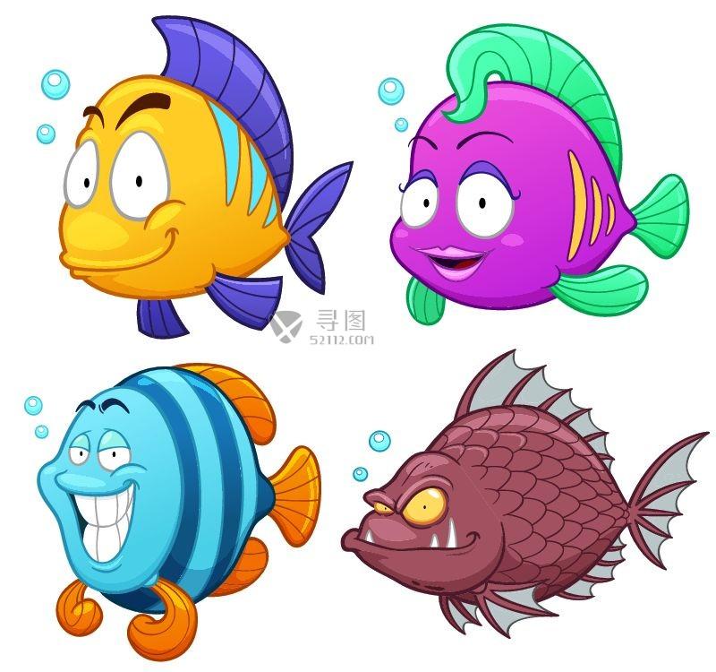 矢量卡通热带鱼素材