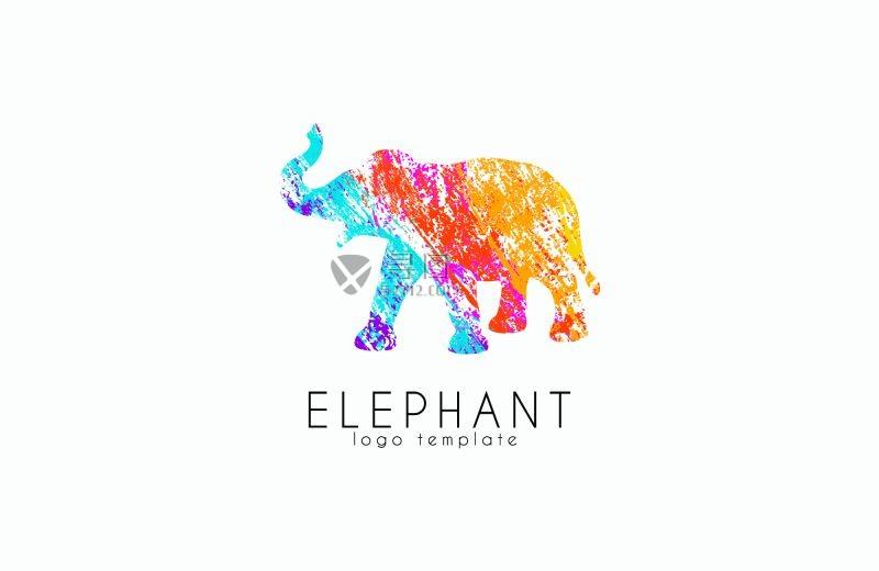 彩色的矢量大象标志