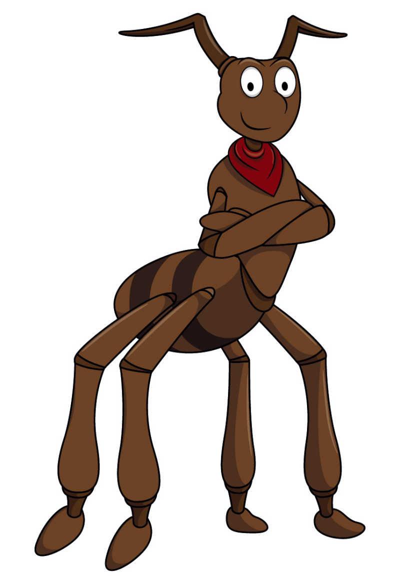 白背景上的矢量卡通棕色蚂蚁